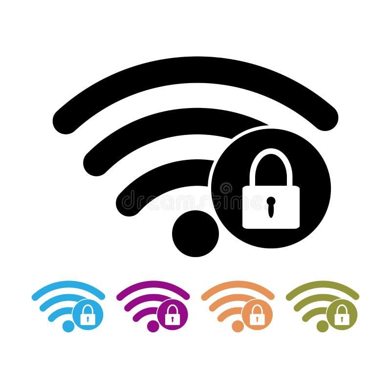 Wi-fi för lösenord för illustration för vektor för symbol för lägenhet för säkerhetswifitecken symbol Radion knyter kontakt vektor illustrationer