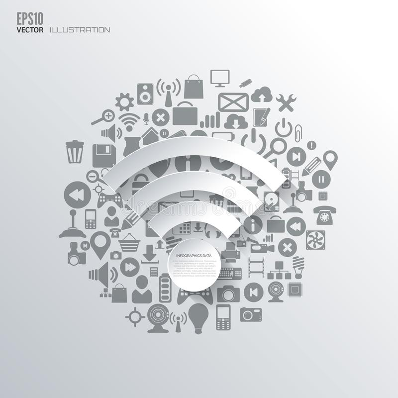 Wi-fi icon. Flat abstract background with web icons. Interface symbols. Cloud computing. Mobile devices.Business concept.  royalty free illustration