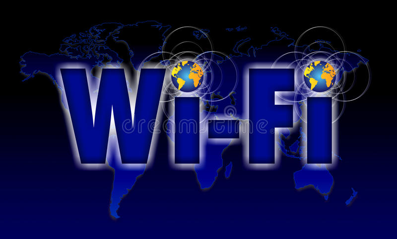 Wi Fi icon phone. Concept for wi-fi or wi fi. Image shows a globe optic paths flying around letters Wi-Fi which stand for Wireless Fidelity over a circle grid vector illustration