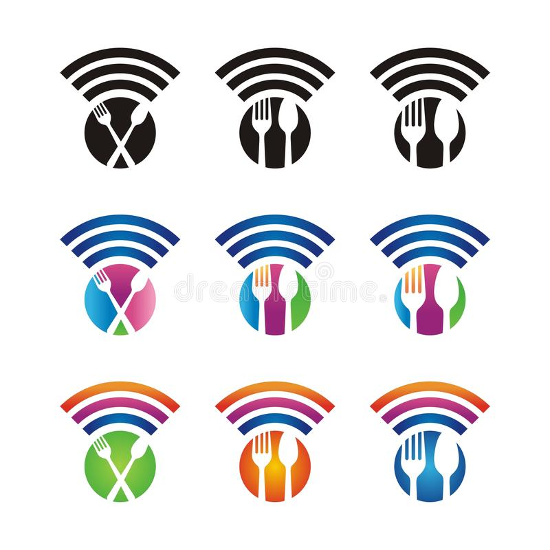 Wi-fi icon with restaurant sign royalty free stock photos
