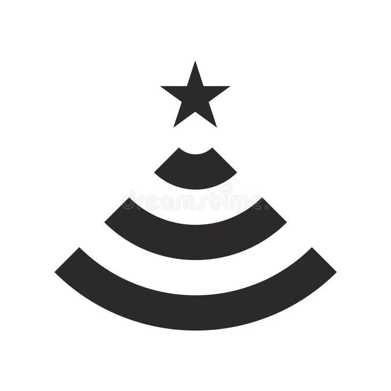 wi-FI-Ikonenvektor Baum des neuen Jahres lizenzfreie abbildung