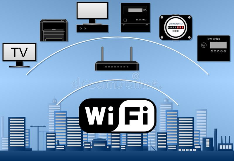 Wi-Fi network diagram with devices. Buildings on blue background vector illustration