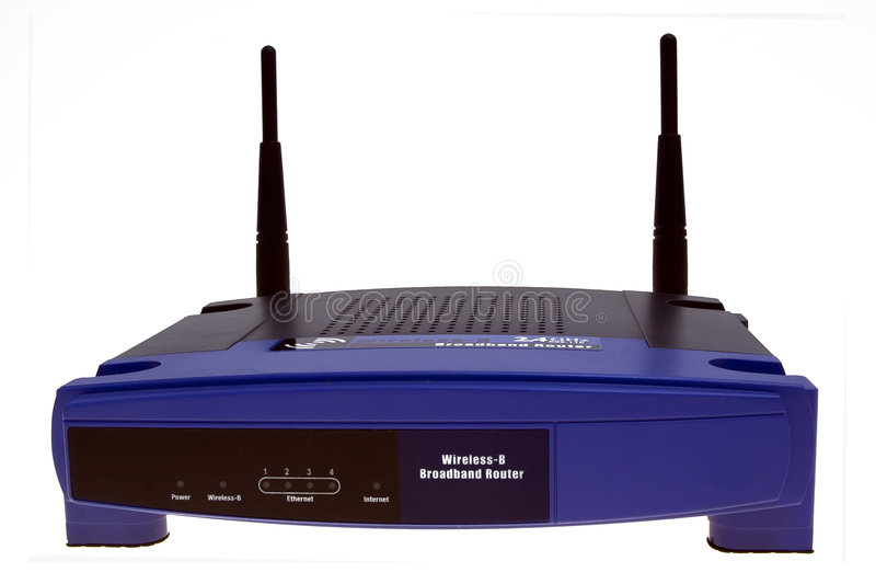 Wi-fi network router. Front panel of a wireless home access point router with adsl gateway build-in stock photo