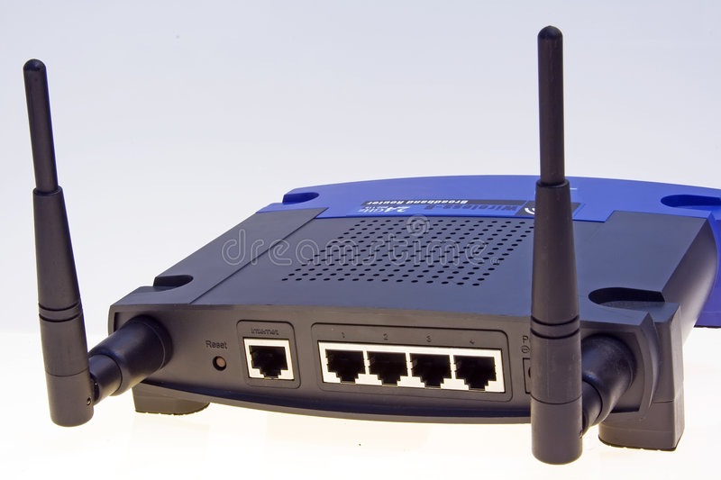 Wi-fi network router. Back panel of a wireless home access point router with adsl gateway build-in royalty free stock photos