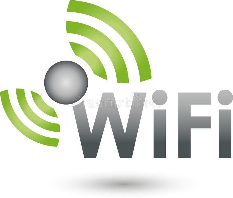 Wi-Fi och vågor, internet och logo Wi-Fi vektor illustrationer