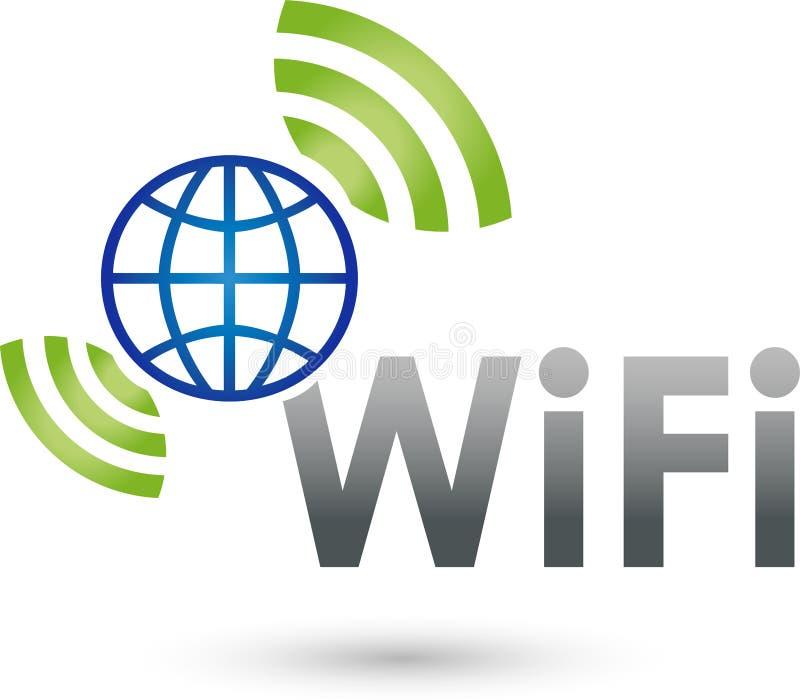 Wi-Fi och vågor, internet och logo Wi-Fi royaltyfri illustrationer