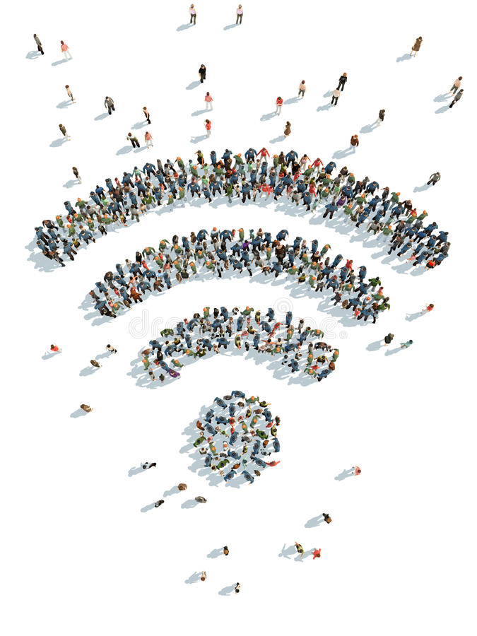 Wi-fi with people royalty free illustration