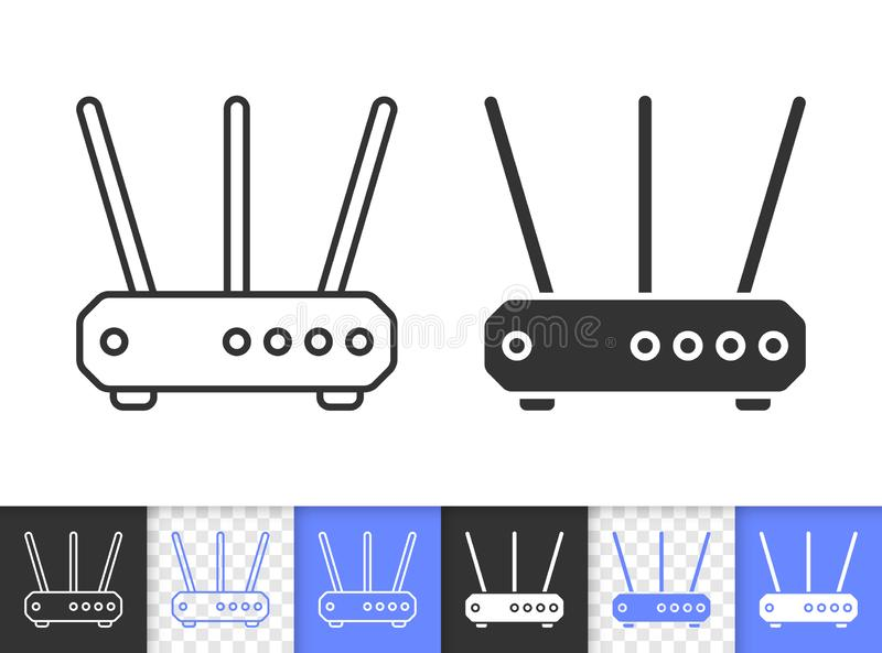 Wi-fi Router simple black line vector icon vector illustration