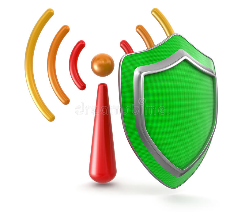 Download Wi-Fi And Shield (clipping Path Included) Stock Illustration - Illustration of data, image: 34209009