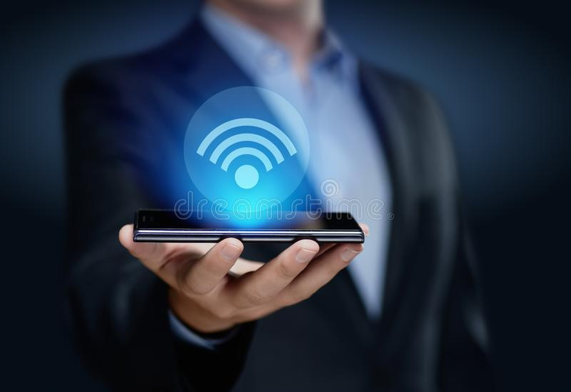 Wi Fi wireless concept. Free WiFi network signal technology internet concept royalty free stock photo