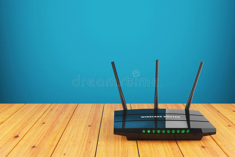 Wi-Fi wireless router on wooden table stock illustration