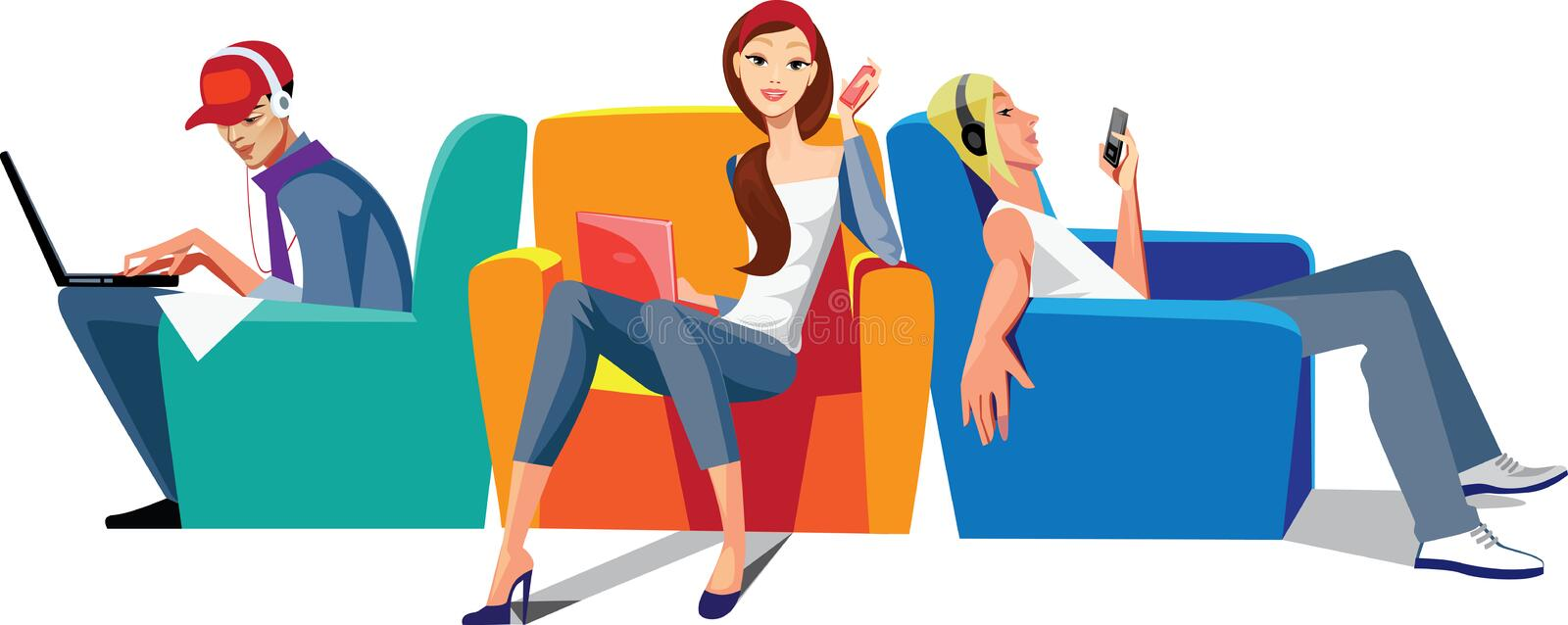Download Wi-fi zone stock vector. Illustration of teen, sitting - 22783937