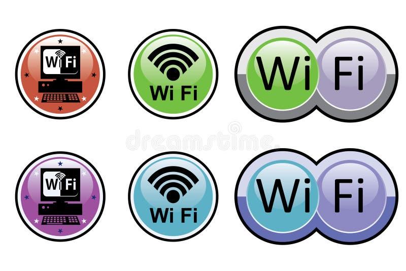 Wi FIknopen - stickers vector illustratie