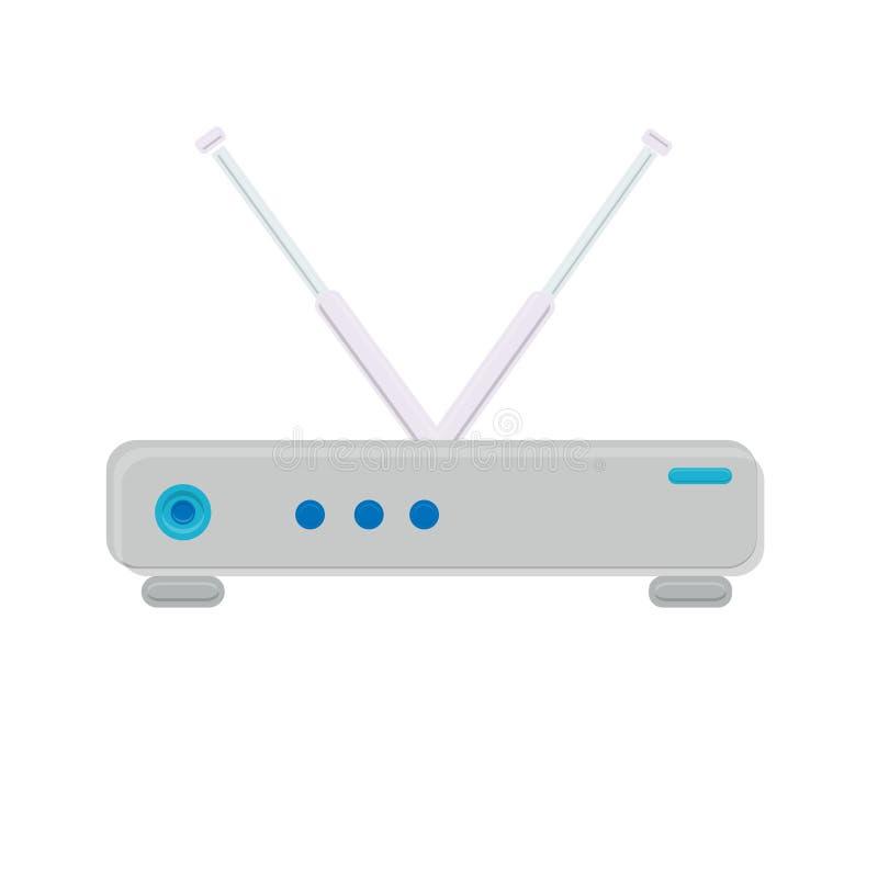 Wi-Firoutermodem der weißen flachen Ikone der Vektorillustration einfaches modernes digitales digitales für das drahtlose Interne stock abbildung