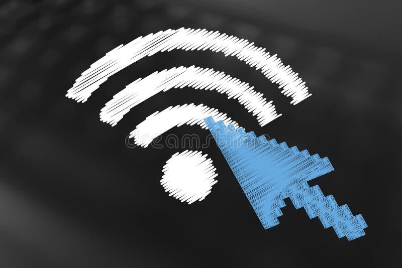 Download Wi-Fisymbol Mit Mauszeiger An Stock Abbildung - Illustration von maus, übertragung: 96927184