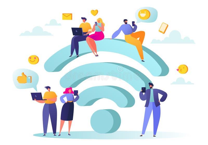 Wi-Fiverbindung Leute traten nahe einem großen Symbol Wi-Fi zusammen lizenzfreie abbildung