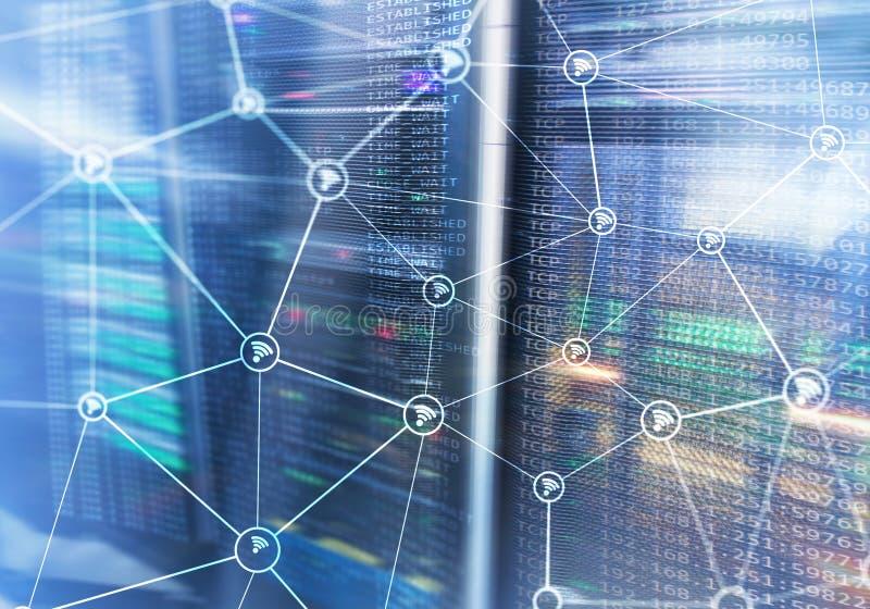Wi het netwerk abstracte structuur van FI op de moderne achtergrond van de serverruimte royalty-vrije illustratie