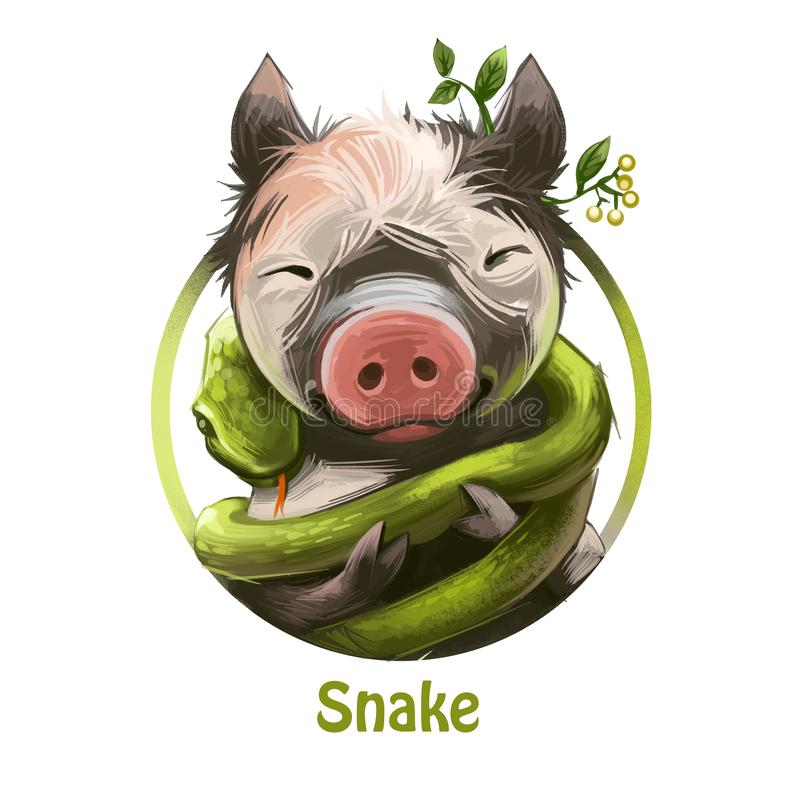 Wi się fryzowanie wokoło uśmiechniętego prosiaczka z rośliną i liśćmi ucho cyfrową sztuką Węża i świni zodiak i orientalny ilustracja wektor