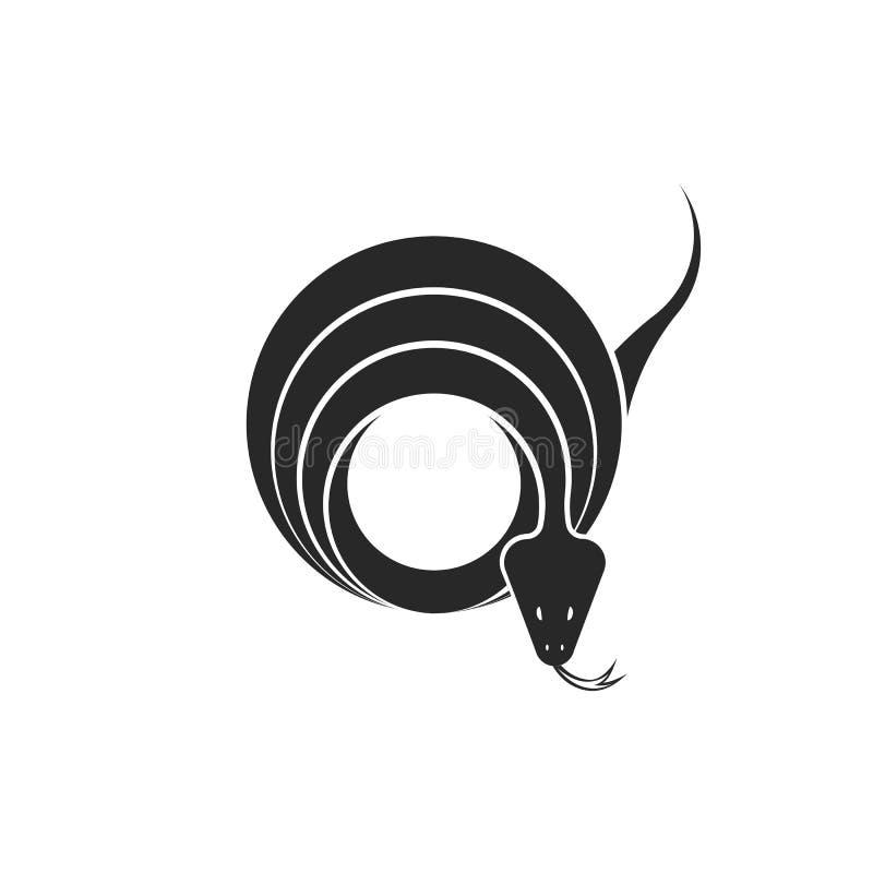 Wi się logo round geometrycznego kształt, kręconych gadów pierścionków graficzną ilustrację dla tatuażu lub majcheru w minimalist royalty ilustracja