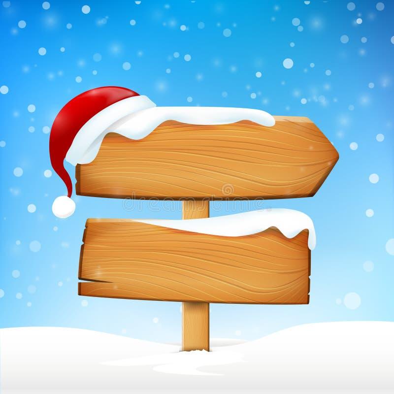 Wi tablero del espacio en blanco de la muestra y el caer de la nieve del invierno y del sombrero de madera de Papá Noel ilustración del vector