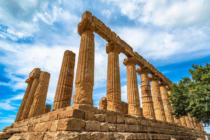 ?wi?tynia Juno w dolinie ?wi?tynie, Agrigento, Sicily, W?ochy zdjęcie stock