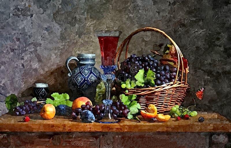 Wi?zka ciemni winogrona, brzoskwinie i szk?o m?ody wino, ?ycie Malowa? mokr? akwarel? na papierze sztuka abstrakcyjna ilustracji
