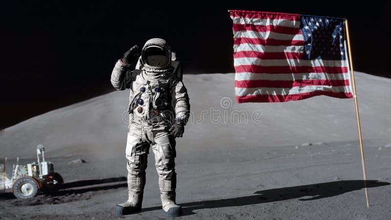 ?wiadczenia 3 d Astronauta salutuje flag? ameryka?sk? CG animacja Elementy ten wizerunek mebluj?cy NASA royalty ilustracja