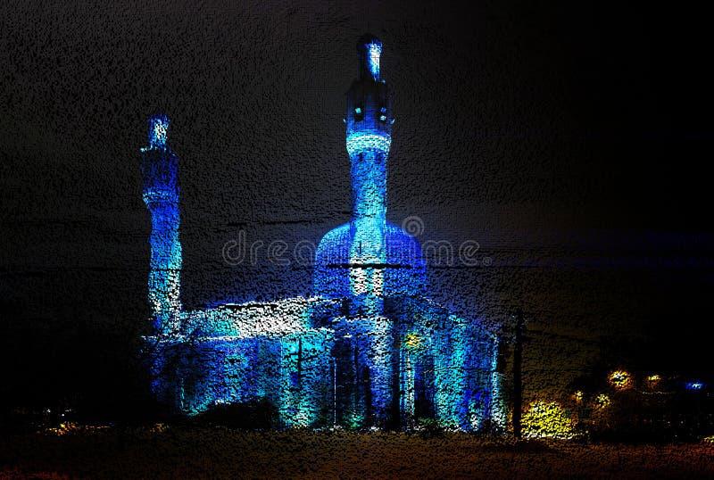 ?wiadczenia 3 d sześcian sztuka od 3D obciosuje piksel realistycznej fotografii starego meczet w Świątobliwym Petersburg Rosja, n ilustracji