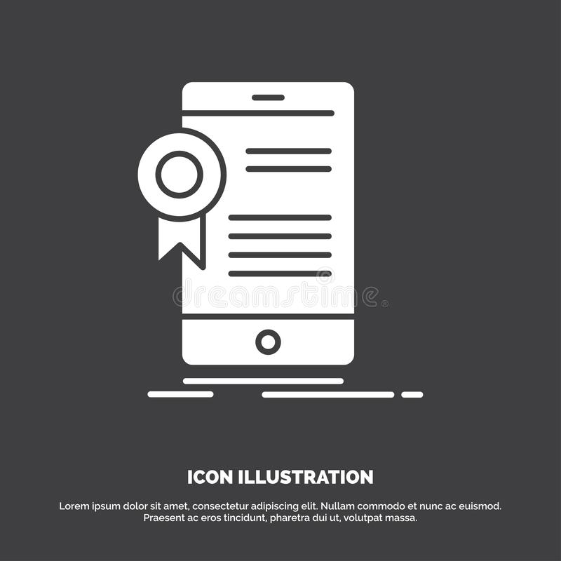 ?wiadectwo, certyfikat, App, zastosowanie, zatwierdzenie ikona glifu wektorowy symbol dla UI, UX, strona internetowa i wisz?cej o royalty ilustracja