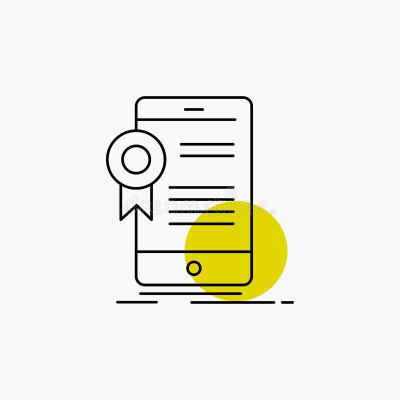?wiadectwo, certyfikat, App, zastosowanie, zatwierdzenie Kreskowa ikona royalty ilustracja