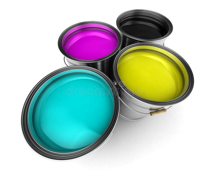 wiader cmyk koloru farba royalty ilustracja