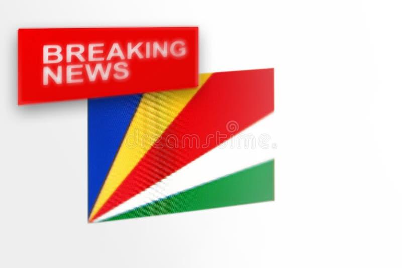 Wiadomość dnia, Seychelles kraju flaga i wpisowa wiadomość, zdjęcia royalty free