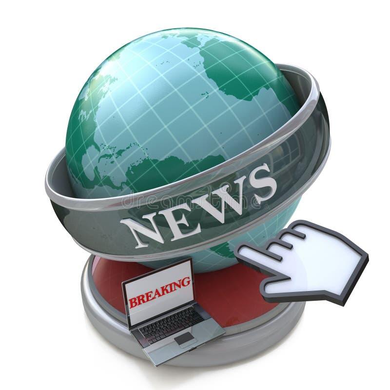 Wiadomość i prasy pojęcie: Wiadomość dnia, Opóźniony wiadomości ze świata ilustracji