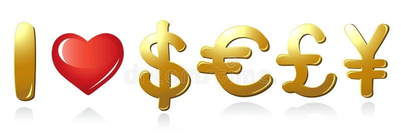 Wiadomość Ja kocham Pieniądze ilustracja wektor