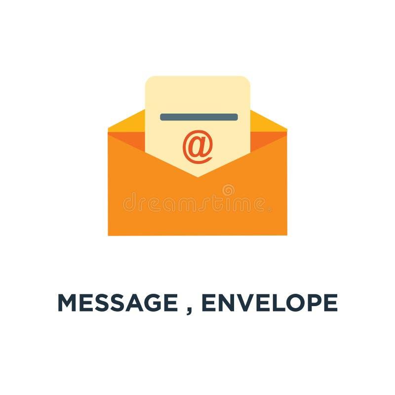 wiadomość, kopertowa ikona poczta, wysyła listowego pojęcie symbolu desig royalty ilustracja