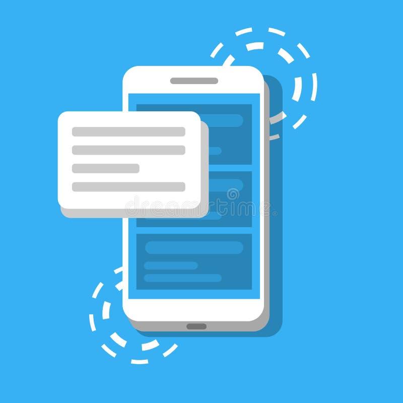 Wiadomość lub SMS na tle telefon Pojęcie gawędzenie lub korespondencyjny używa smartphone również zwrócić corel ilustracji wektor ilustracja wektor