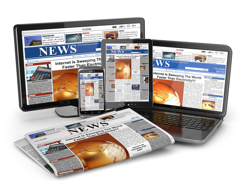 Wiadomość. Medialny pojęcie. Laptop, pastylka komputer osobisty, telefon i gazeta. ilustracji