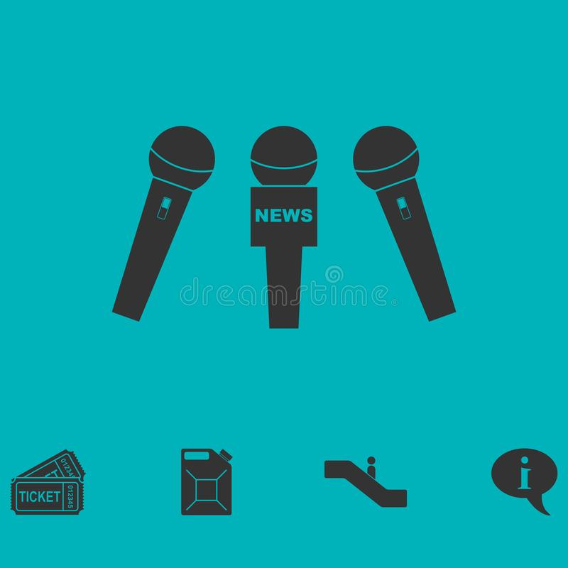 Wiadomość mikrofonu ikony mieszkanie royalty ilustracja