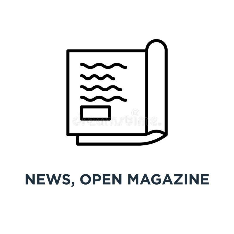 Wiadomość, otwarta magazyn ikona Liniowa prosta element ilustracja Jo royalty ilustracja