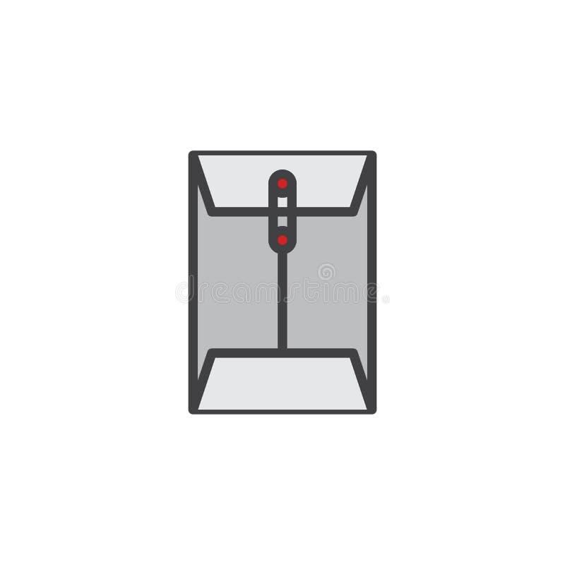 Wiadomość papierowego dokumentu konturu klamerka wypełniająca ikona ilustracji