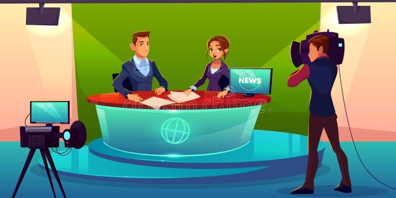 Wiadomość podawcy w telewizyjnym pracownianym wektorze royalty ilustracja