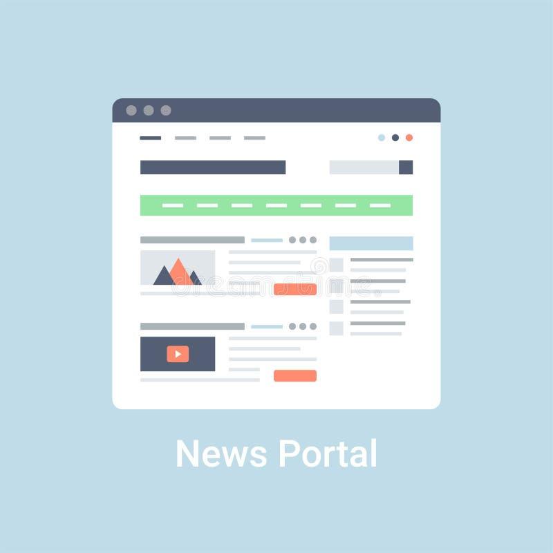 Wiadomość portal Wireframe royalty ilustracja