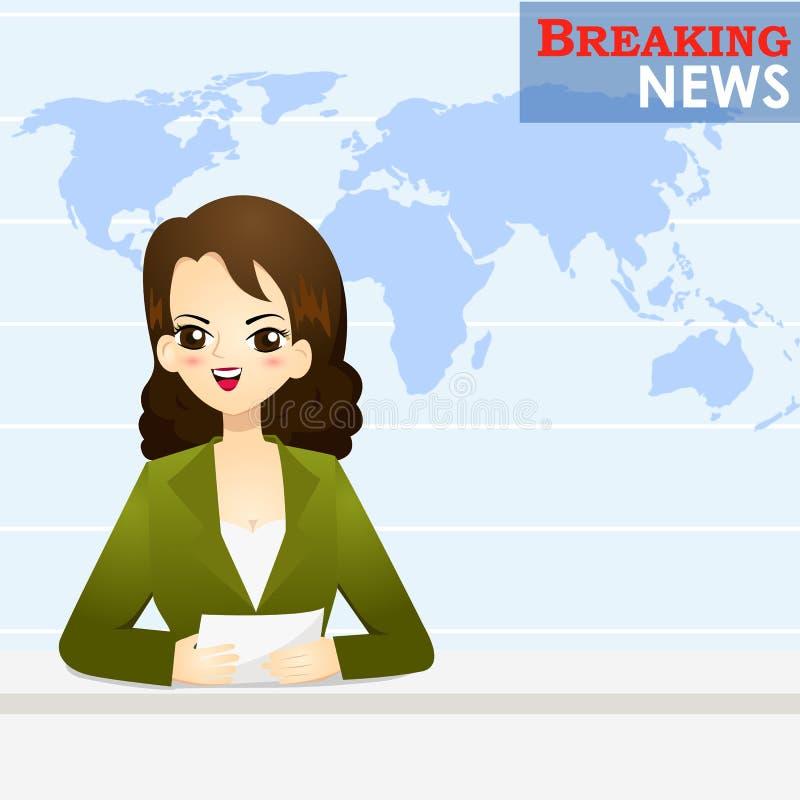 Wiadomość spiker mówi wiadomość w studiu ilustracja wektor