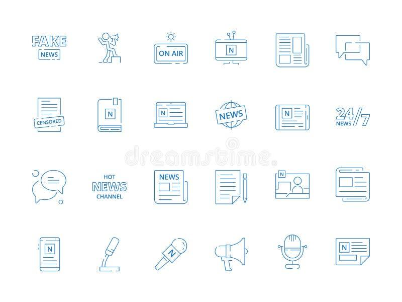 Wiadomość symbole Biznesowej gazety online magazynu różnorodny ewidencyjny źródło ogłasza wektorową ikonę ilustracja wektor