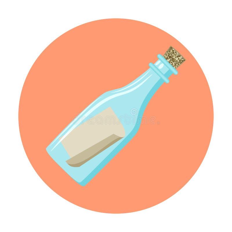 Wiadomość w butelki ikonie ilustracji