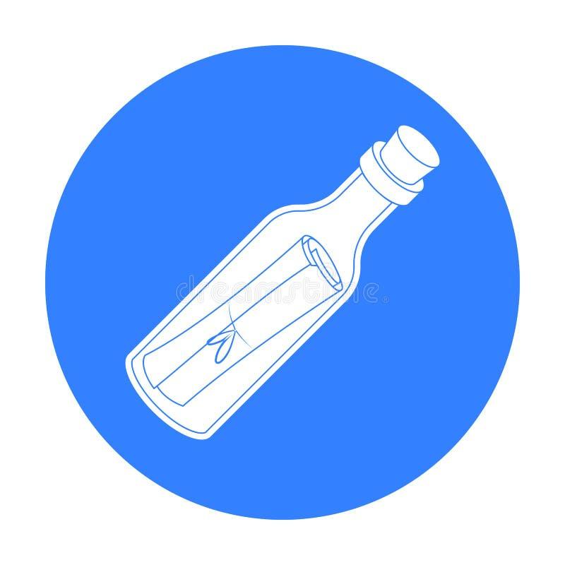 Wiadomość w butelki ikonie w czerń stylu odizolowywającym na białym tle Pirata symbolu zapasu wektoru ilustracja ilustracji