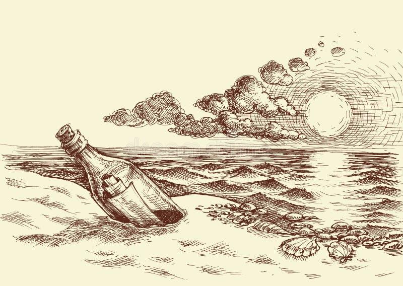 Wiadomość w butelki ręki rysunku ilustracja wektor