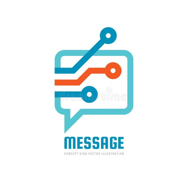 Wiadomość - wektorowa loga szablonu pojęcia ilustracja Mowa bąbla kreatywnie znak Internetowa gadki ikona Nowożytna informatyka s ilustracji