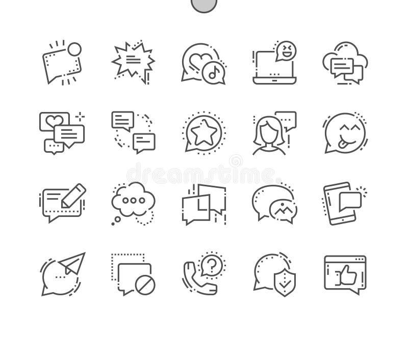 Wiadomość Wykonująca ręcznie piksla Perfect wektoru ikon 30 Cienka Kreskowa 2x siatka dla sieci Apps i grafika ilustracja wektor