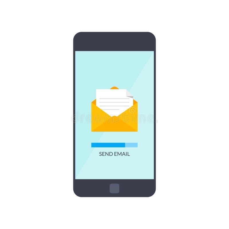 Wiadomość wysyła dalej telefon komórkowego Emaila marketing Wektorowa ilustracja w mieszkanie stylu odizolowywającym na białym tl royalty ilustracja